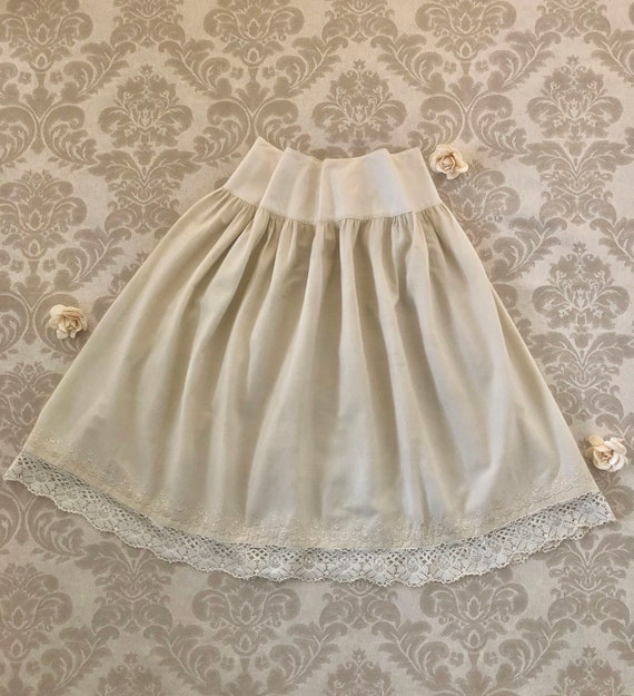 Antique Victorian Wool Petticoat, Embroidered Lace