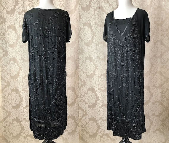 Vintage 20's Dress, 1920's Silk Beaded Dress, Blac