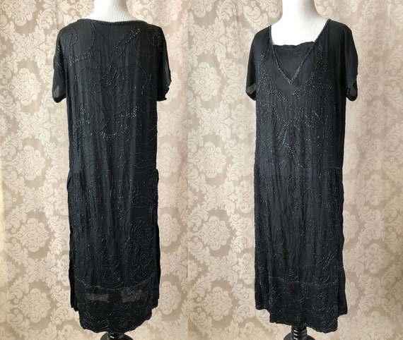 Vintage 20's Dress, 1920's Silk Beaded Dress, Bla… - image 1