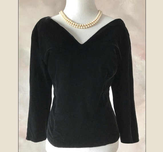 Vintage 50's Top, 1950's Black Velvet Evening Top
