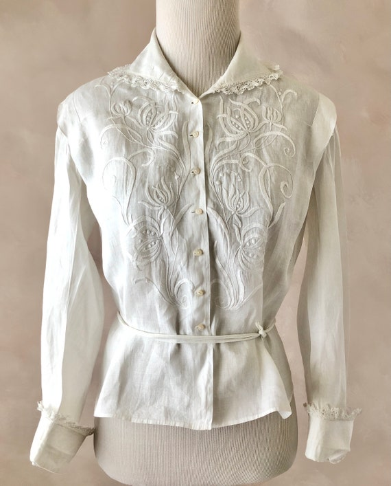 1900s antique lace blouse with puff sleeves vintage 1910s blouse by Bonwit Teller Victorian Edwardian bodice shirtwaist