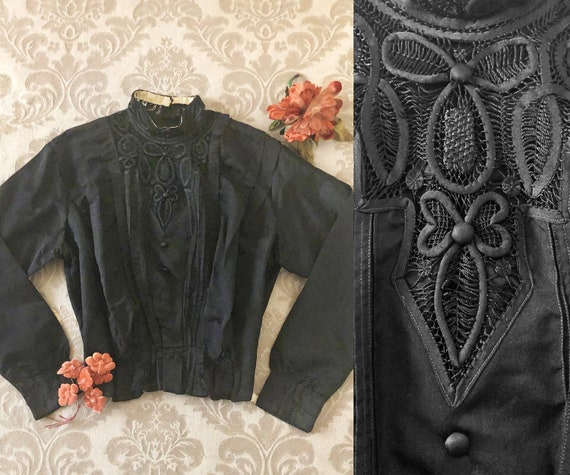 Antique Edwardian Bodice, 1910's Black Silk Blouse