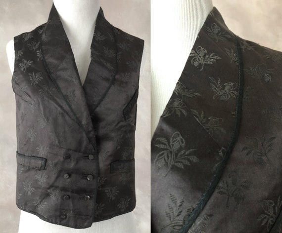 Antique Silk Waistcoat, 1800's Black Silk Damask W
