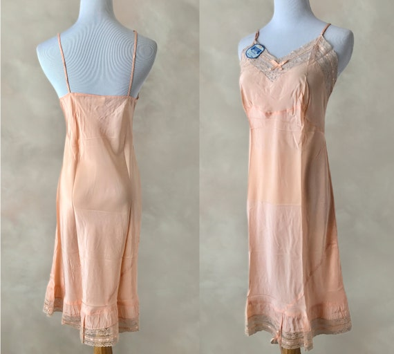 Vintage 40's NOS Slip, 1940's Deadstock Rayon Lac… - image 3