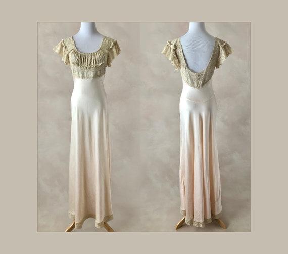 Vintage 30's Fischer Heavenly Silk Nightgown, 1930