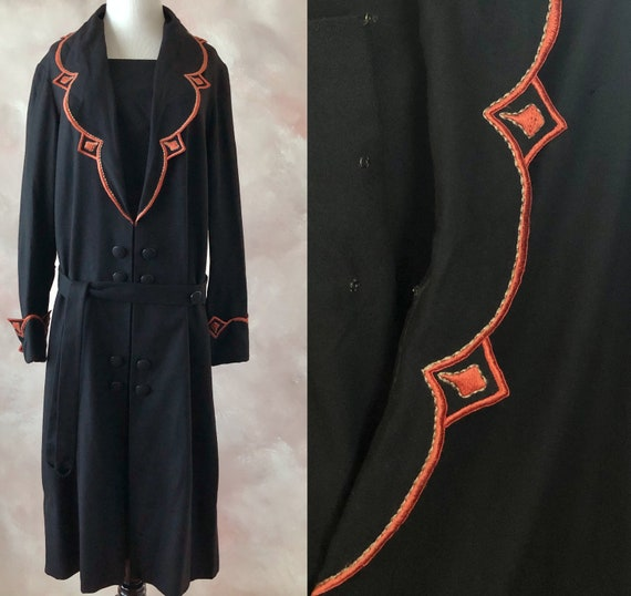 Vintage 20's Wool Dress, Late Teens/Early 1920's A