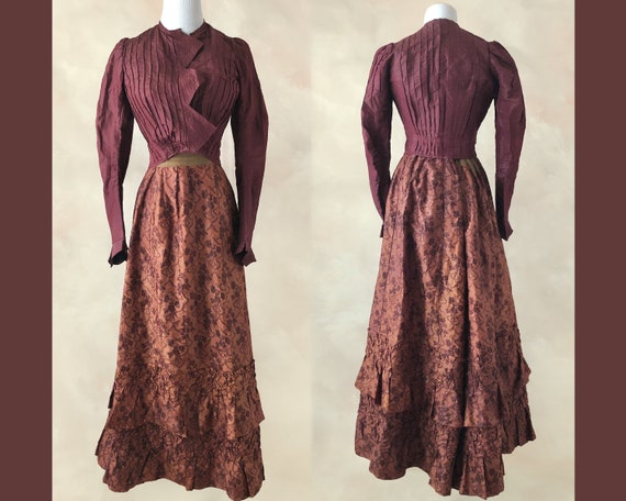 Antique Victorian Dress, 1890's Victorian Silk Bod