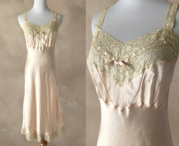 Deadstock 1940's Slip Nightgown, 40's Silk Nightgo