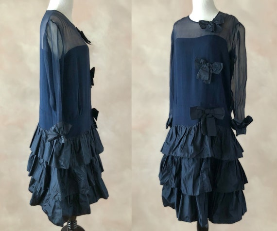 Vintage 20'sDress, 1920's Silk Chiffon Dress, Navy