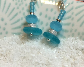 Turquoise Stardust seaglass earrings