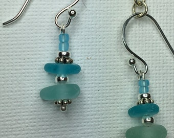 Teal blue & turquoise seaglass earrings
