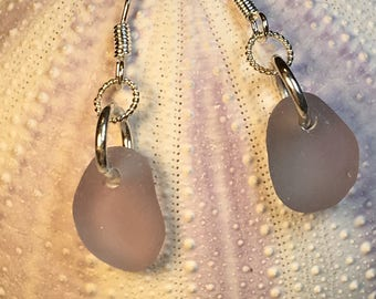 Rare Lilac Seaglass & Sterling Silver Earrings