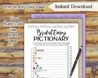 Emoji Pictionary Bridal Shower Game / Printable Wedding Shower Game / Simply Pretty Bridal Shower / Hen Party Game / DIY Wedding Games SE79