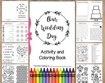 Wedding Coloring Book Printable Instant Download / Childrens Activity Book / Wedding Coloring Pages Favors / Reception Activities for Kids