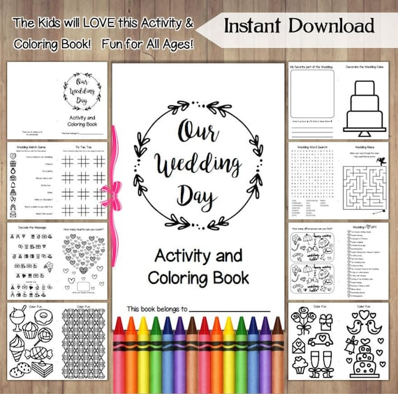 Wedding Coloring Book Printable Instant Download /