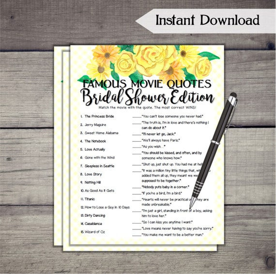 Famous movie quotes match bridal shower game yellow flowers etsy image 0 mightylinksfo
