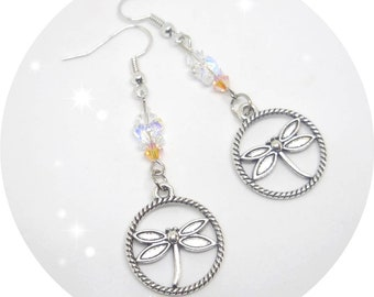 Dragonflies and Swarovski crystals earrings