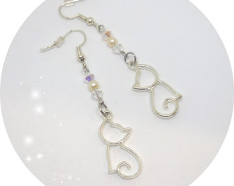 CAT and Swarovski crystals earrings