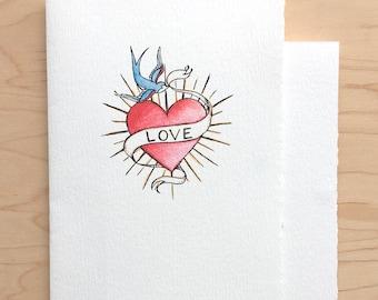 Love Card Heart and Blue Bird