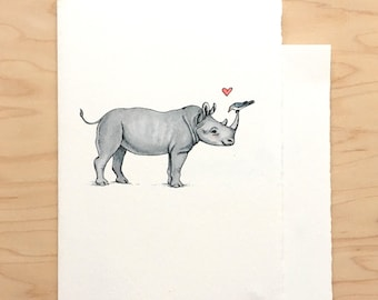 Valentine Card Rhino + Bird