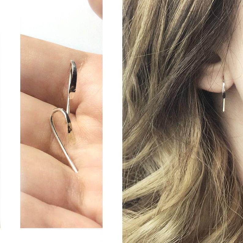 Silver Sterling Minimalist Earrings  Handmade Jewellery  image 0