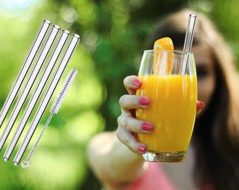 Glass straws drinking straws 4 pieces + Cleaning brush! Cocktails-Smoothie!