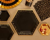 Gold black plates-Large gold stars paper plates-Hen party plates -Birthday paper plates-Party decorations-Party tableware-8 pack