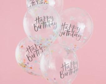 Happy Birthday Pastel Confetti Balloons