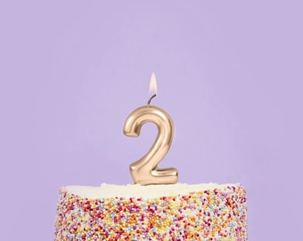 METALLIC ROSE GOLD BIRTHDAY CANDLE NUMBER 0 BIRTHDAY PARTY SUPPLIES