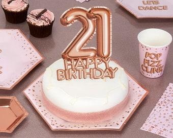 Rose Gold 21 Happy Birthday Cake Topper