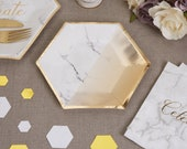 Marble and gold plates - Marble effect small paper plates - Hen party plates -Birthday paper plates-Party decorations-Party tableware-8 pack