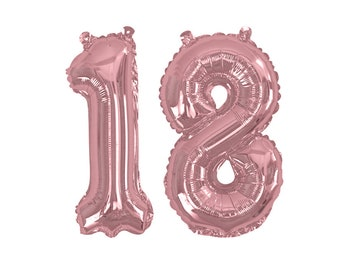 Rose Gold 18 Balloon 18th Birthday Party Supplies Decor Number No Helium 16
