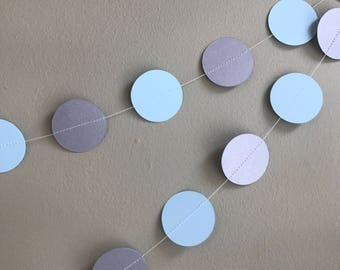 Party garland - Blue and silver garland - Handmade garland - Celebration decorations - Celebration accessories-Blue-Pearlised silver-Shimmer