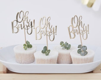 Gold Oh Baby! cupcake toppers - Gold foiled baby shower cupcake toppers - Baby shower decor - Gold baby shower - Cake toppers - Pack of 12