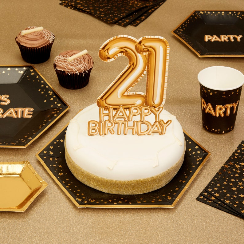 Gold 21 Happy Birthday Cake Topper Decoration
