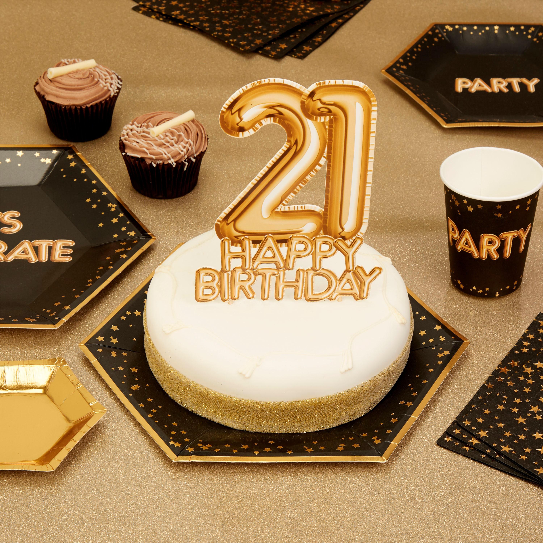Gold 21 Happy Birthday Cake Topper Decoration