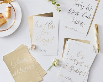 Gold Wedding Milestone Cards - White and Gold Wedding Keepsake Cards - Pack of 24