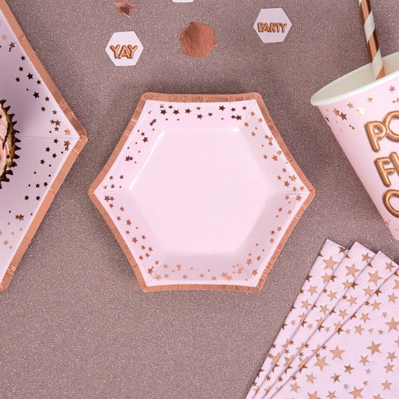 pack of 8 Rose Gold Star Party Paper Plates