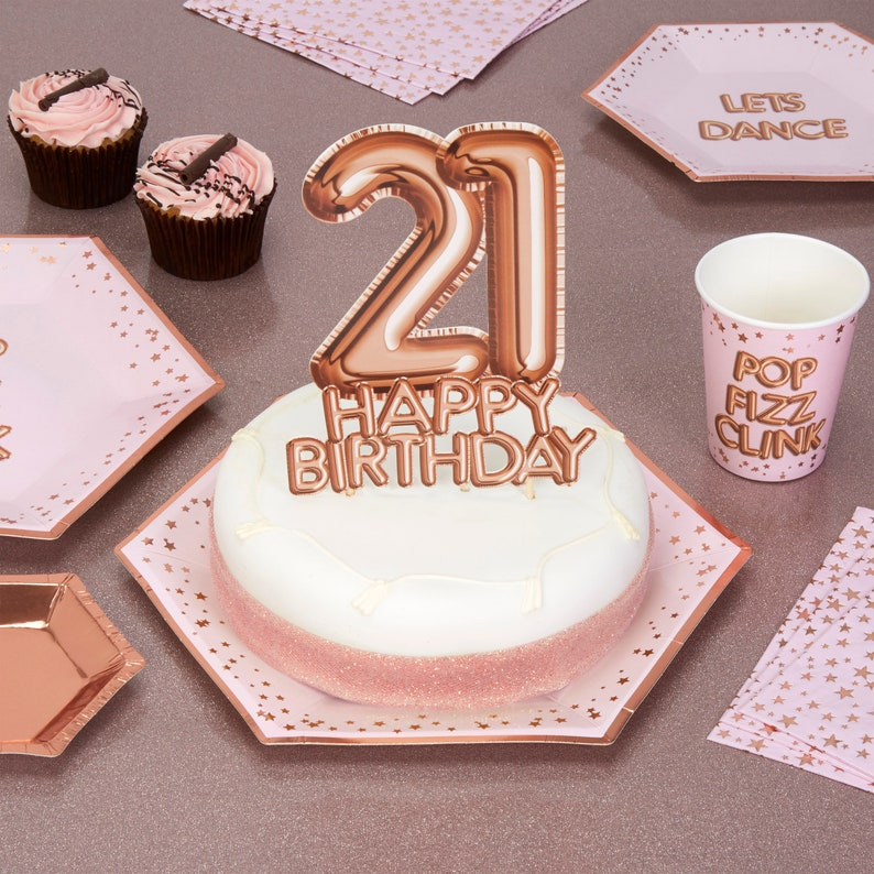 Rose Gold 21 Happy Birthday Cake Topper