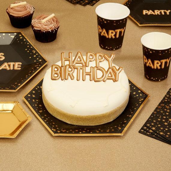 Gold Happy Birthday Kuchen Topper Gold Kuchen Dekoration Etsy