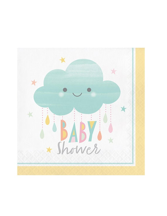 20 3 PLY BLUE /& WHITE SPOTTED NAPKINS BABY SHOWER PARTY READY TO POP CUP CAKE