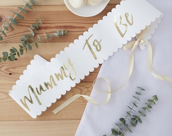 Mummy To Be Sash - Oh Baby Sash - Oh Baby gold and white baby shower - Baby shower sash - Mum To Be Sash - Mum to be gift - New arrival