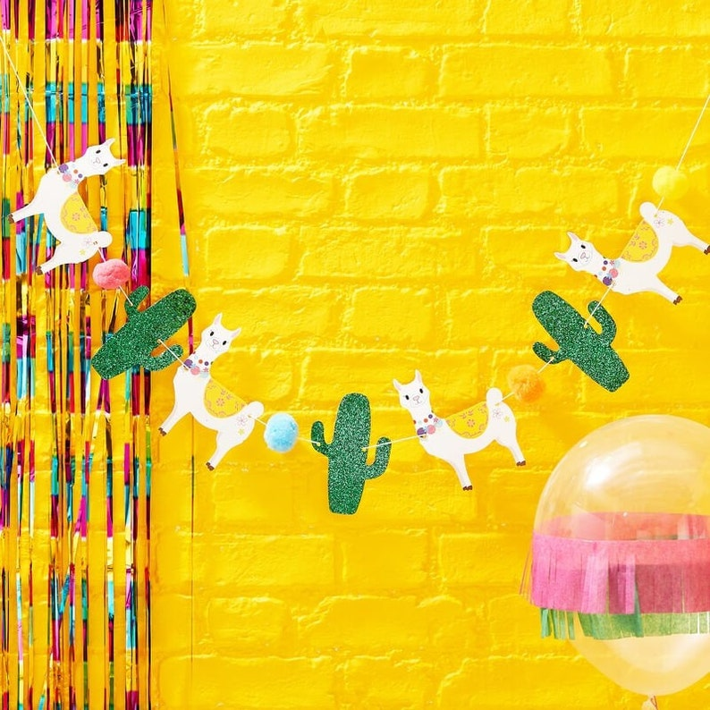 Llama, Cactus & Pom Pom Bunting Fiesta Party Bunting Party Decorations