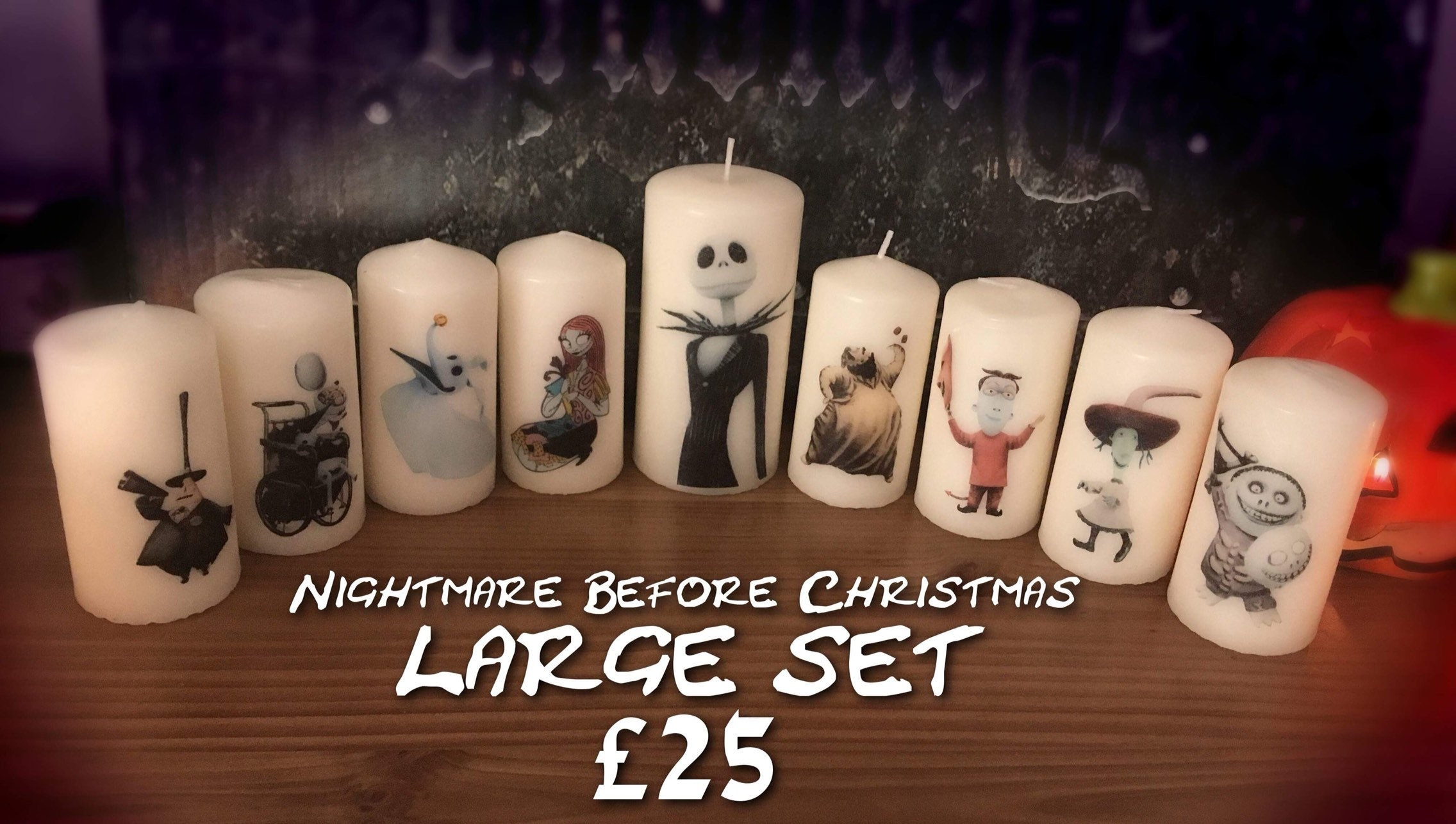 Nightmare Before Christmas Large Candle Set | Etsy