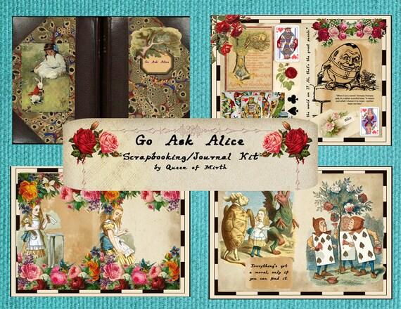 Alice in Wonderland Digital download Junk journal kit DIY, Alice scrapbook kit Wonderland printable paper Alice vintage papers