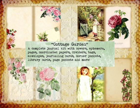 picture about Free Printable Garden Journal known as English State Cottage Back garden Printable Magazine Package birds Totally free Present Sbook or Magazine Printable floral junk magazine downloadable reserve