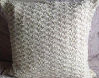 Hand knitted cream textured Aran cushion cover