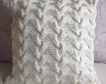 Hand knitted cream French Braid pattern Aran cushion cover