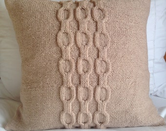Hand knitted soft caramel cable chain pattern double knit cushion cover