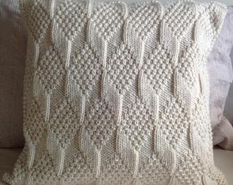 Hand knitted cream diamond pattern Aran cushion cover